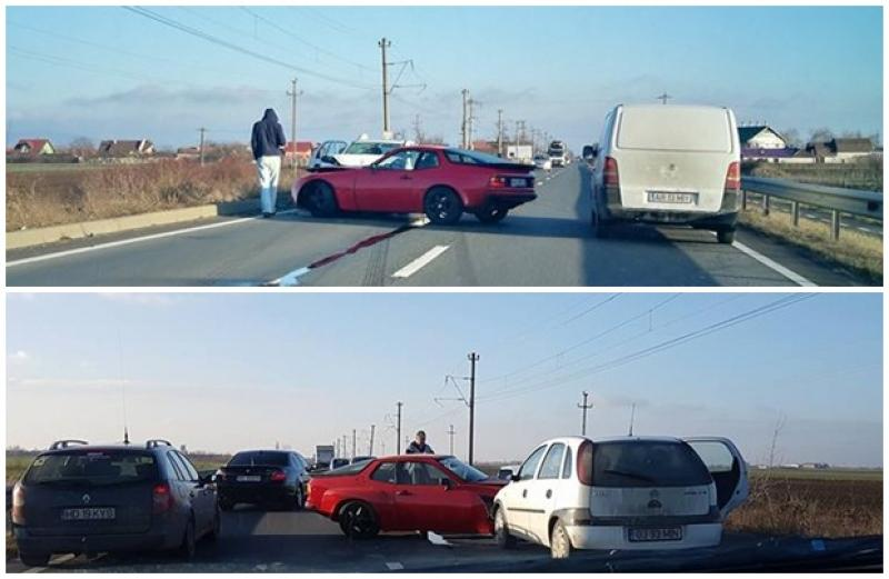 Două persoane rănite şi un autoturism unicat în România, distrus în urma unui accident rutier pe DN7