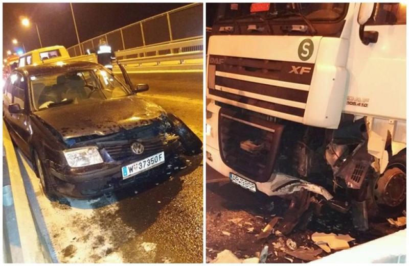 Coliziune frontală între un camion şi un autoturism, pe podul din Curtici