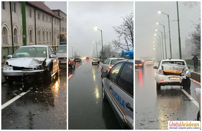 Ciocnire violentă între două autoturisme, pe podul din cartierul Grădişte