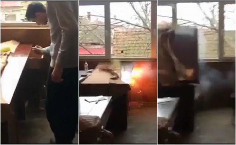 """Câţiva elevii ai Colegiului """"Mihai Viteazul"""" din oraşul Ineu, au aruncat în aer o catedra în timpul unei pauze"""