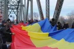 Un tricolor de 100 de metri a legat cele două maluri ale Prutului, marcând intrarea în Anul Centenar al Marii Uniri din 1918