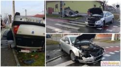 Grav accident în Bujac! Un taxi Logan dat peste cap de o şoferiţă neatentă!