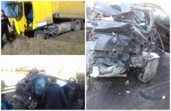 Două camioane şi un autoturism, implicate într-un grav accident rutier, produs  pe DN7, între Sâmbăteni şi Păuliş! Un tânăr de 18 ani și-a pierdut viața!