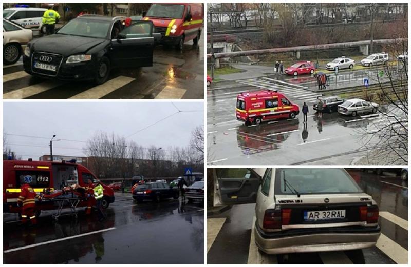 Accident rutier în cartierul Micălaca. Un bărbat şi un copil au ajuns la spital