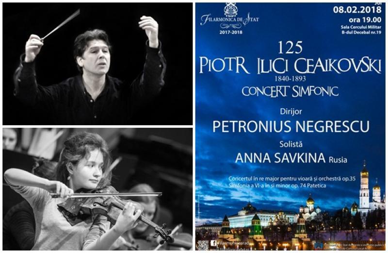 Dirijorul Petronius Negrescu şi violonista Anna Savkina însufleţesc opera lui Ceaikovski, în faţa publicului arădean