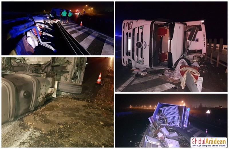 Camion răsturnat la ieşirea de pe autostradă, de lângă Zona Industrială! Şoferul, un cetăţean turc, a fost transportat la spital