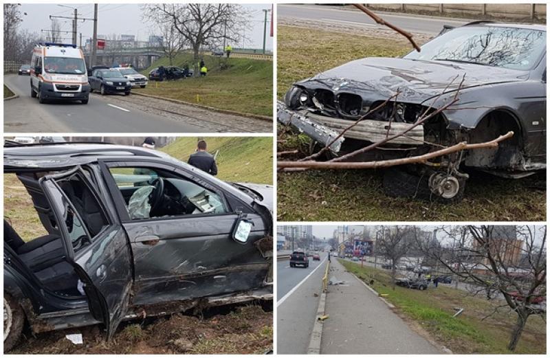 Accident spectaculos în zona Sălii Polivalente. Un tânăr a zburat cu BMW-ul de pe pod!