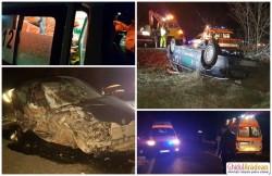 Prăpăd pe DN79. Trei persoane transportate la spital, în urma unui accident rutier