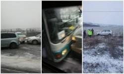 Accidente pe bandă rulantă în Arad după o fulguială de 2 ore