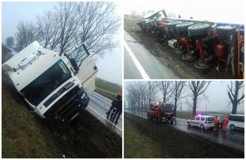 Cisternă răsturnată pe DN 7 între Arad şi Pecica! Pompierii au intervenit pentru a preîntâmpina un dezastru!