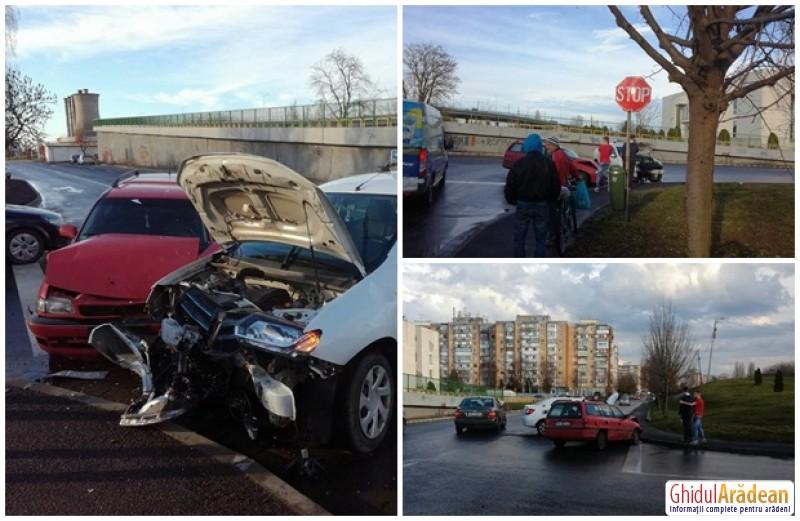 Două autoturisme implicate într-un accident rutier, în apropierea Bisericii  Maranata