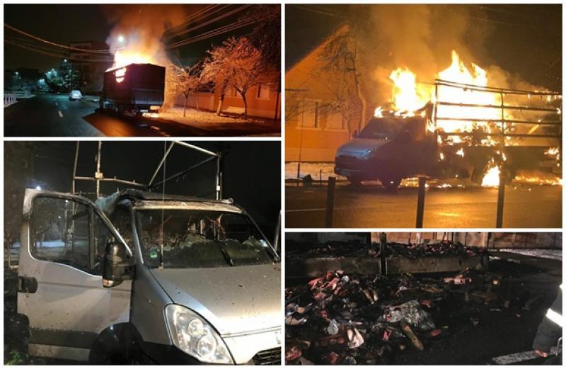 O camionetă încărcată cu piese auto s-a făcut scrum, noaptea trecută. Focul ar fi fost pus intenţionat!