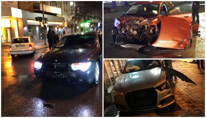 Două accidente joi noaptea spre vineri în centrul Aradului în aceeaşi intersecţie!