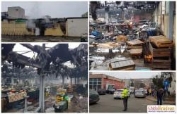 INCENDIU devastator la Piaţa Agroalimentară Aurel Vlaicu! Întreaga hală s-a făcut scrum!