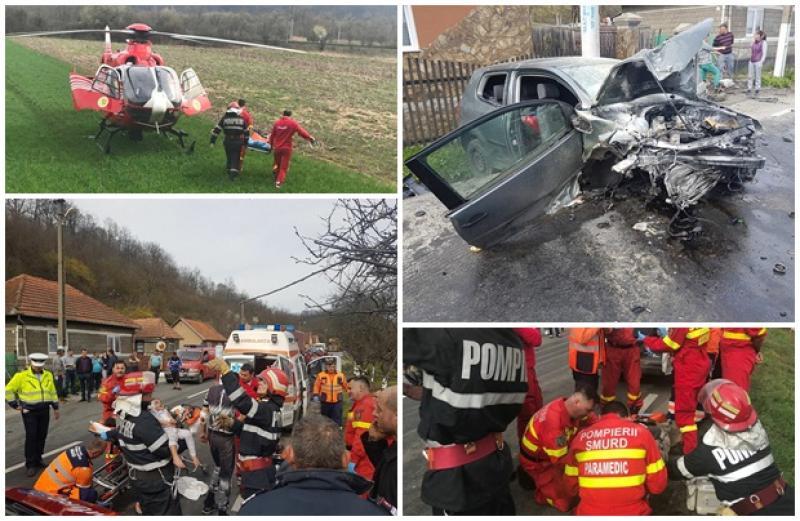 Mașină făcută praf, în urma unui groaznic accident rutier, produs pe valea Mureşului! Patru adulţi şi patru minori, au fost răniţi!
