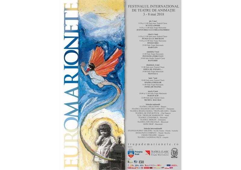 Sărbătoarea poveștilor și a păpușilor. În luna mai, la Arad are loc cea de-a XIX-a ediție a Festivalului Internațional de Teatru de Animației EUROMARIONETE