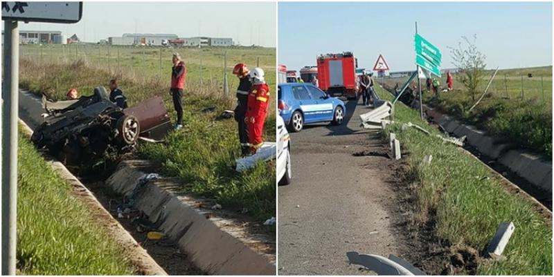 Accident violent pe autostrada Arad-Timisoara. Soferul de 18 ani al unui BMW a murit, alti 3 tineri sunt raniti!