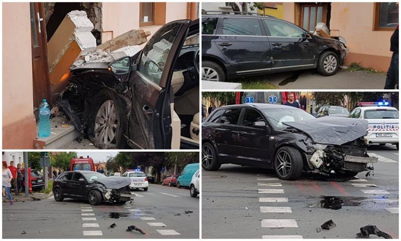 Accident violent pe strada Şaguna, una din maşini a spart zidul unei case!