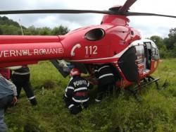 GRAV accident rutier la Pleșcuța. Elicopterul SMURD s-a deplasat la fața locului
