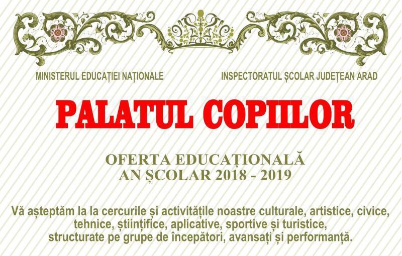 Încep înscrierile la Palatul Copiilor Arad. Vezi la ce activități poate fi înscris copilul tău și care este oferta educațională a cercurilor