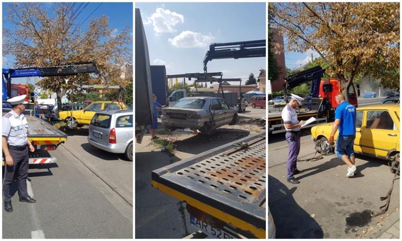 A început ridicarea maşinilor abandonate şi  fără stăpân din Arad!