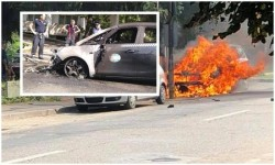 Un taximetru a luat foc vineri pe Bulevardul Dragalina