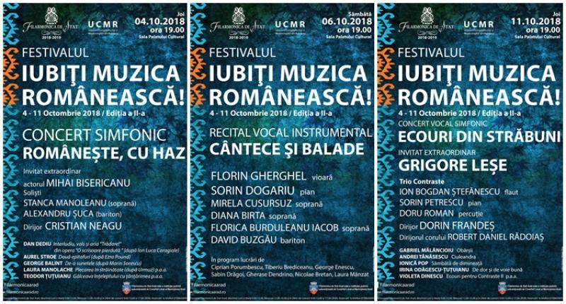 """Festivalul """"Iubiți muzica românească!"""" La Filarmonica din Arad 4-11 octombrie"""