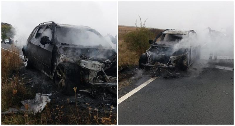 Un incendiu la un autoturism BMW a blocat traficul pe DN 79 la ieşire din Chişineu Criş!