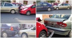 O şoferiţă începătoare a produs un carambol pe Constantin Brâncuşi