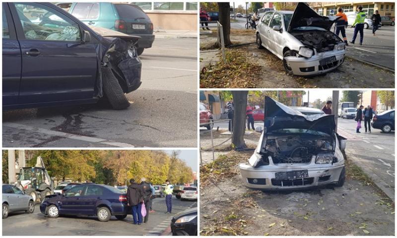Accident pe Calea Victoriei, două maşini s-au făcut praf!