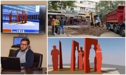 """Dacă guvernul nu amplasează Statuia, o să pună Primăria una..... Au început lucrările pentru amplasarea grupului statuar ,,Arad 1918"""" concepţia Elevii Colegiului de Arte """"Sabin Drăgoi"""" din Arad"""
