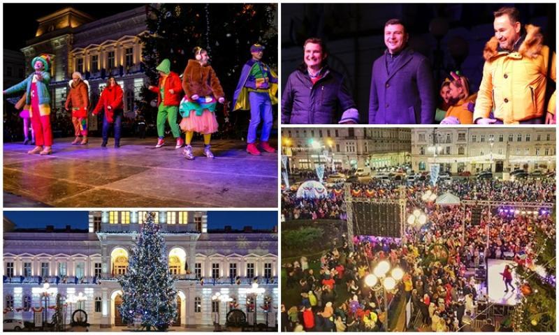 Sute de copii au venit miercuri seara pe platoul din fața primăriei pentru tradiţionala festivitate a aprinderii luminilor din Bradul de Crăciun