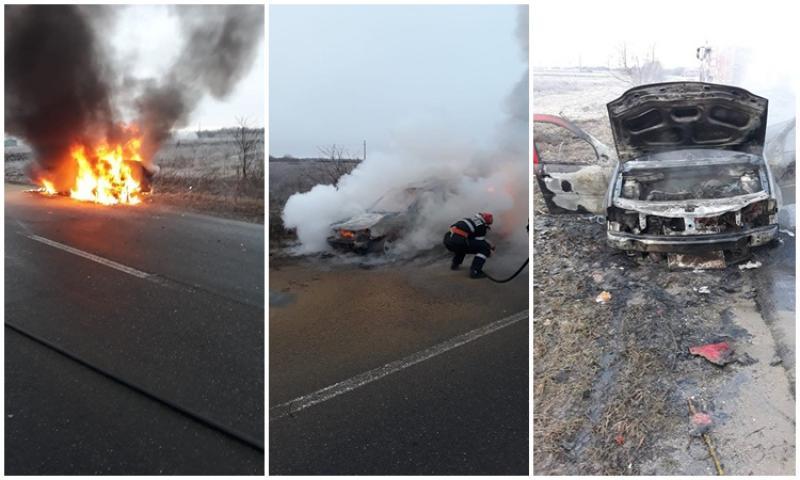 Un autoturism a fost distrus complet de flăcări sâmbătă dimineaţa pe DJ 792 în zona localității Seleuș