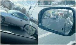 Bizonul zilei: O şoferiţă a vrut  să schimbe sensul de mers în giratoriul de la INTIM, şi i-a reuşit!