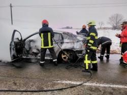 O mașină s-a făcut scrum, la intrare în localitatea Turnu