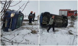 Autoturism răsturnat pe DN 79A între localităţile arădene Pilu şi Socodor