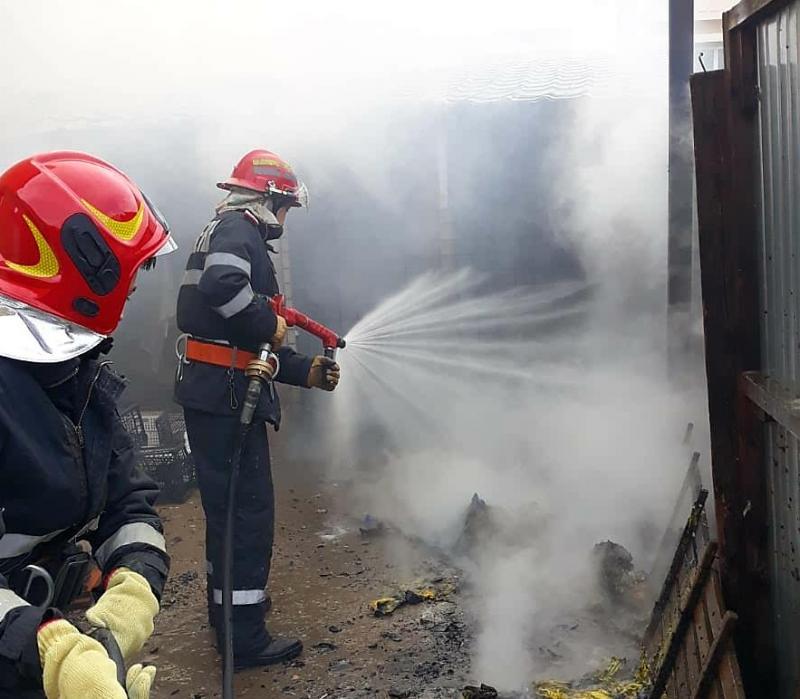 Noapte de foc pentru pompierii din Ineu