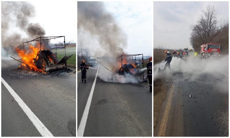 Momente de spaimă pentru un șofer pe DN7. Remorca mașinii a luat foc cu tot cu bagaje