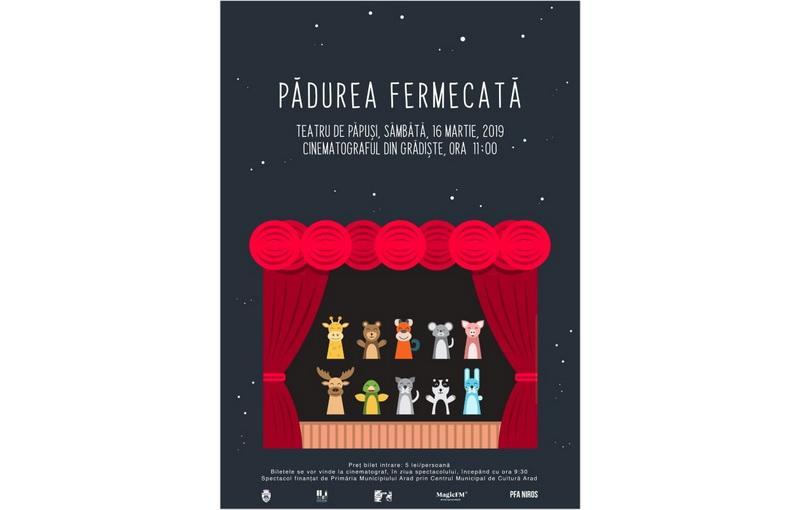 Ionică și prietenii lui în piesa teatrului de păpuși Pădurea Fermecată, care va avea loc sâmbătă 16 martie la Cinematograful din Grădiște