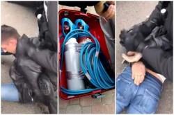 VEZI video cu arestarea a două persoane din Arad, bănuite că au furat bani dintr-un bancomat din Arad