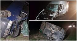 Accident grav la Chişineu Criş. Două microbuze s-au făcut praf!