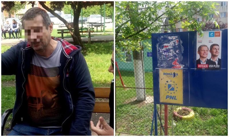 Ziua şi afişul electoral vandalizat