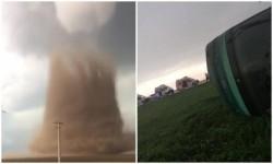 Tornada uriaşă de la Drajna a răsturnat un autocar cu 40 de oameni la bord şi a spulberat zeci de acoperişuri
