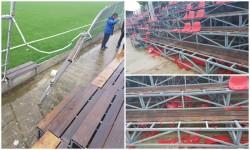 """Pagube consistente pe """"Motorul"""" după derby: stadionul a rămas fără 700 de scaune și 16 metri de gard"""