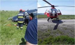 UPDATE: Victima a fost descarcerată și predată echipajului SMURD de pe elicopter în stare gravă| Victimă încarcerată în urma unui accident în Șiria