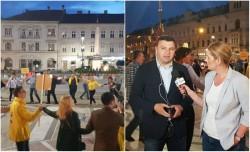 PNL sărbătoreşte în faţa Primăriei la Arad!