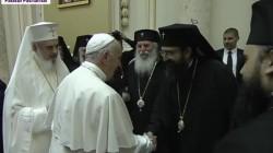 Papa Francisc a ajuns la Palatul Patriarhiei