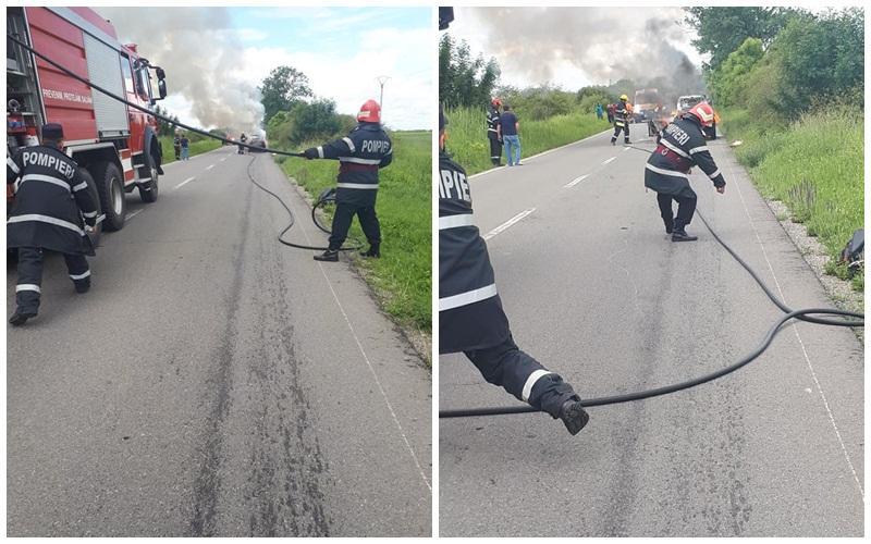 Maşină în flăcări lângă Ineu!