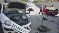 Accident spectaculos, în Timișoara. Video cu mașina răsturnată sub pasaj