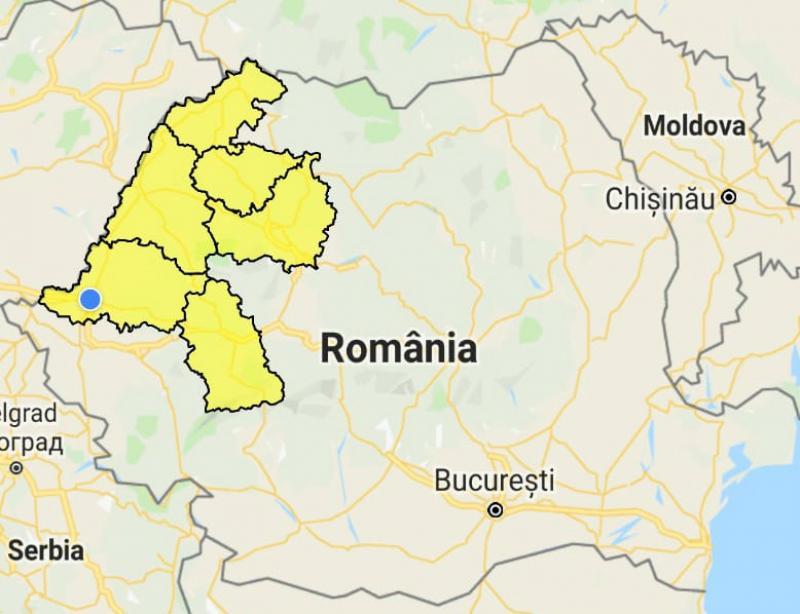 Cod Galben de inundații pentru zona de Vest a României